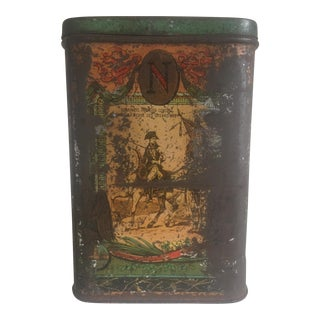 Rare Vintage 19th Century Le Pelican Rouge French Napoleon Coffee Tin For Sale