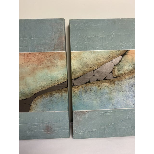 Abstract Mid-Century Three Piece Mixed Media Painting For Sale - Image 3 of 12
