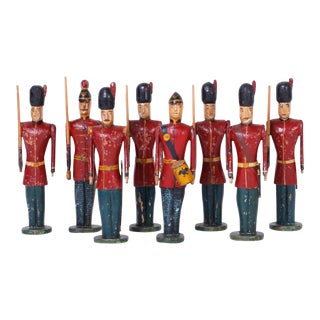 Carved Wood English Soldiers - Set of 8 For Sale