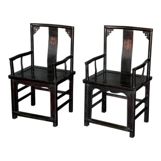 Pair of Chinese Qing Dynasty Officials Chairs in Black Lacquer For Sale