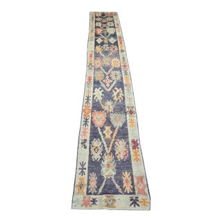 "Modern Turkish 'Nanou' Oushak Runner- 3' x 21' 11"" For Sale"