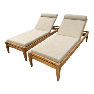 Hollywood at Home Outdoor Formosa Teak Chaise Lounge Chairs - A Pair