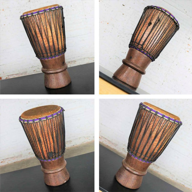 Trio of Tribal Drums Carved Wood and Animal Hide For Sale - Image 9 of 13