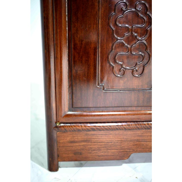 Vintage Rosewood Effect Chinoiserie Credenza Server Cabinet For Sale - Image 9 of 13
