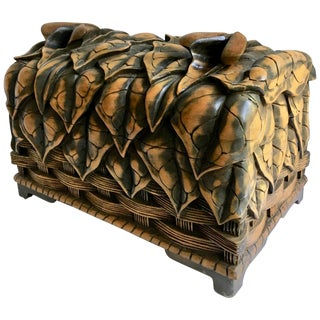 Hand-Carved Box With Floral Detailing For Sale