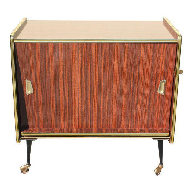 1940s Vintage Macassar French Art Deco Swivel Bar Cabinet For Sale - Image 12 of 13