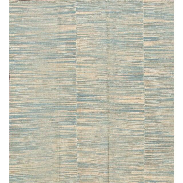 "Apadana - Contemporary Teal/Cream Turkish Kilim Rug, 6'8""x10'11"" - Image 3 of 5"