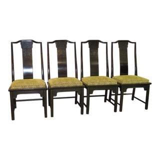 1970s Vintage Asian Style Side Chairs- Set of 4 For Sale