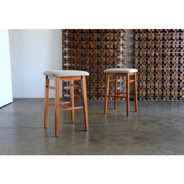 Mid-Century Modern Kipp Stewart for Glenn of California Walnut Stools - a Pair For Sale - Image 11 of 11