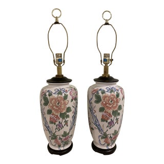 Vintage Cream Colored Table Lamp With Floral Design - a Pair For Sale