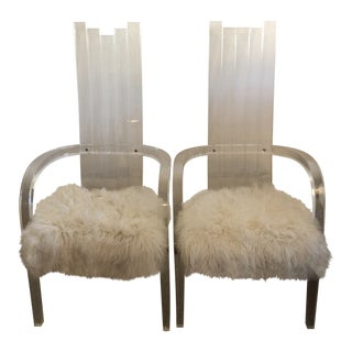 Mid-Centry Modern Lucite Arm Chairs with White Faux Fur Covering - A Pair For Sale