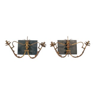 Victorian Brass Wall Sconces - A Pair