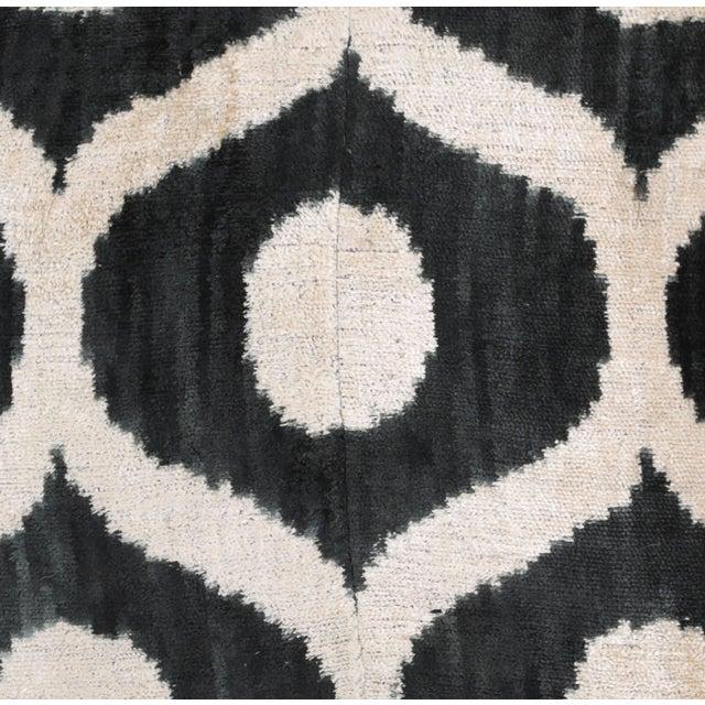 Graphite & Cream Ikat Silk Velvet Pillow - Image 2 of 3