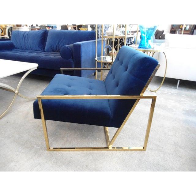 Jonathan Adler Goldfinger Blue Velvet & Brass Lounge Chair - Image 3 of 6