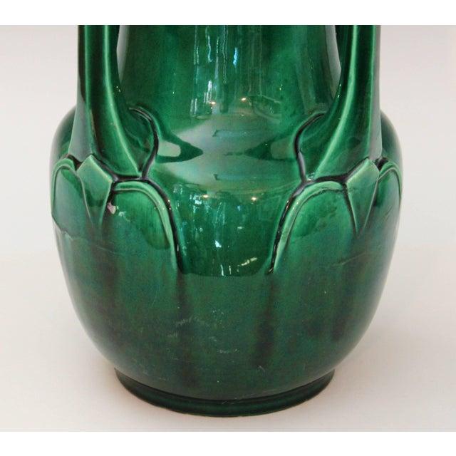 Awaji Pottery Art Nouveau Four Handle Buttress Vase For Sale - Image 4 of 9