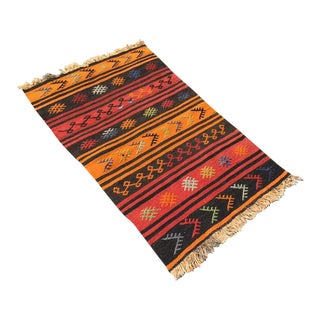 Small Turkish Striped Kilim For Sale