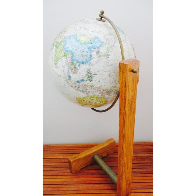 Sleek Modernist Floor Globe on Wood & Metal Stand For Sale - Image 11 of 11