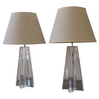 Lucite Les Prismatiques Table Lamps a Pair For Sale