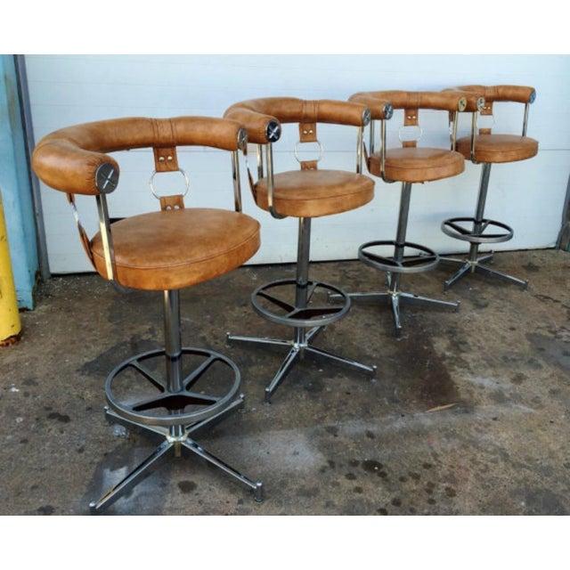 Vintage Vinyl Bar Stools - Set of 4 - Image 5 of 6