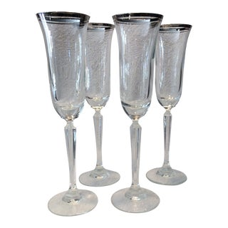 Briarcliffe Platinum Rim Crystal Champagne Flutes by Mikasa - Set of 4 For Sale
