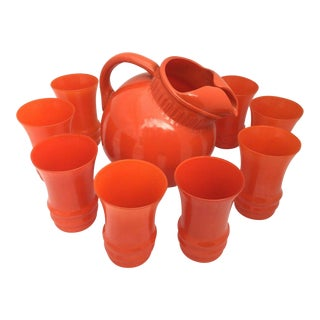 Mid-Century Modern Anchor Hocking Orange Ball Pitcher With Juice Glasses - Set of 9 For Sale