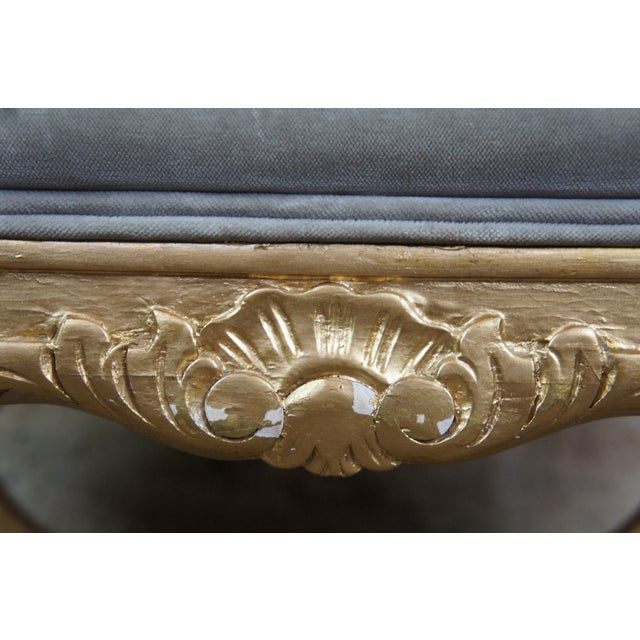 Wood Vintage French Empire Regency Style Gold Vanity Stool For Sale - Image 7 of 13