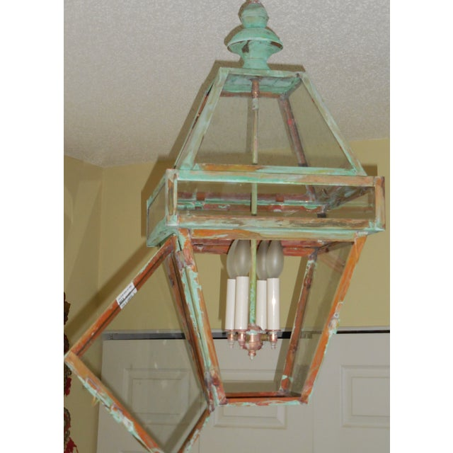 Four Sides Architectural Hanging Copper Lantern - Image 4 of 11