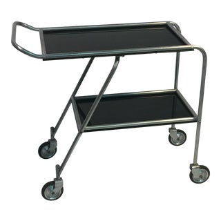 AERODYNAMIC ART DECO ALUMINIUM AND BLACK BAKELITE AERO-ART BAR CART For Sale