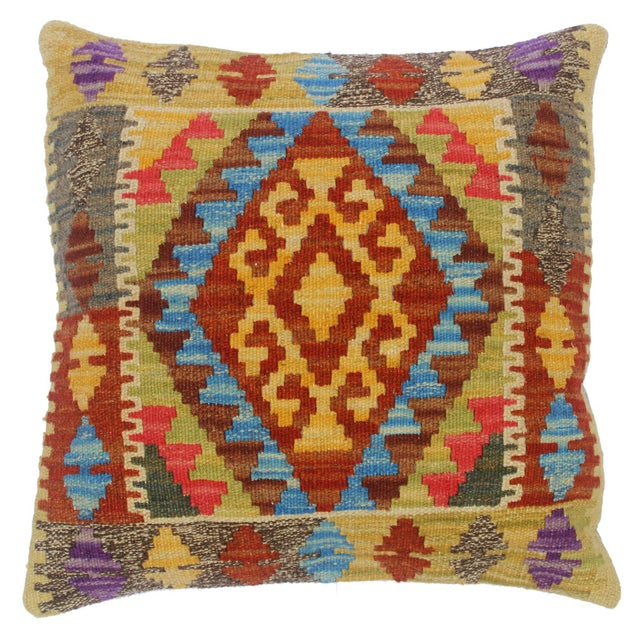 "Clemente Gold/Lt. Blue Hand-Woven Kilim Throw Pillow(18""x18"") For Sale In New York - Image 6 of 6"