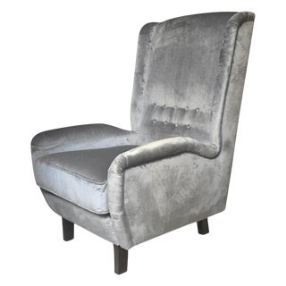 Contemporary Italian Gray Velvet High Back Modern Armchair For Sale