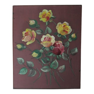 1940' s Oil Painting of Yellow Roses