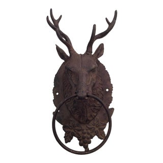 1970s Vintage Cast Iron Deer Hitching Ring For Sale
