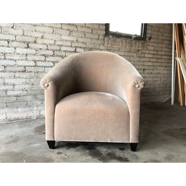 2000 - 2009 Minotti Mohair Lounge Chair and Ottoman For Sale - Image 5 of 12