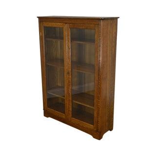 Antique Solid Oak Victorian Era 2 Door Bookcase For Sale