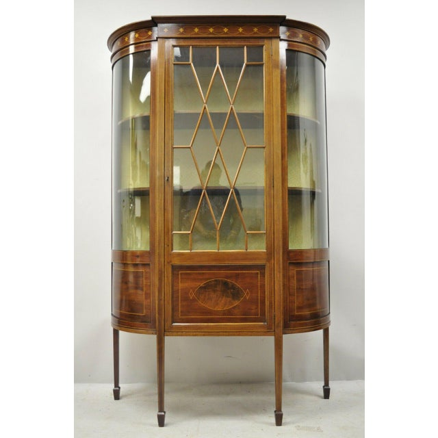 English Edwardian Satinwood Inlay Bowed Curved Glass China Display Cabinet Curio For Sale - Image 12 of 13