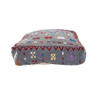Moroccan Patterned Wool Pouf For Sale