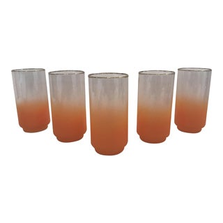 Mid-Century Orange Blendo Glasses - Set of 5