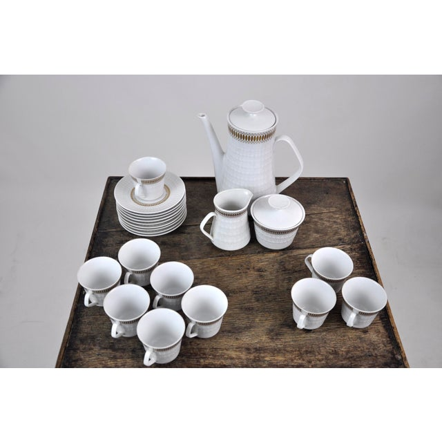 Mid-Century Modern Winterling Marktleuthen Bavaria Mid-Century Modern Embossed Diamonds Coffee Pot Porcelain 23 Pieces Set For Sale - Image 3 of 10