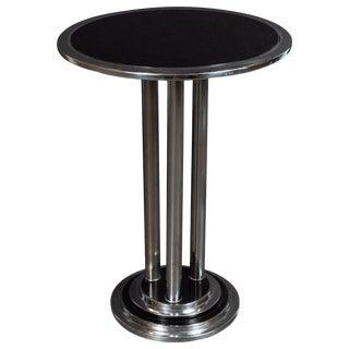 Streamlined Art Deco Machine Age Chrome, Black Enamel & Vitrolite Side Table For Sale