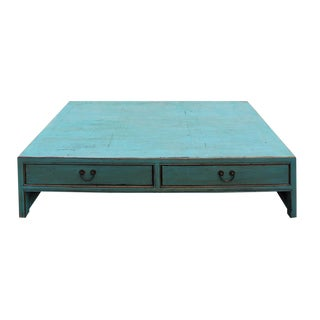 Chinese Blue Rectangular Coffee Table For Sale