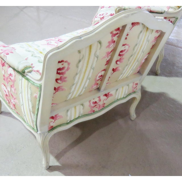Pink Companion Pair of Louis XV Style Chairs For Sale - Image 8 of 9