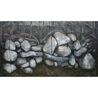Large Painting of a Stone Wall For Sale