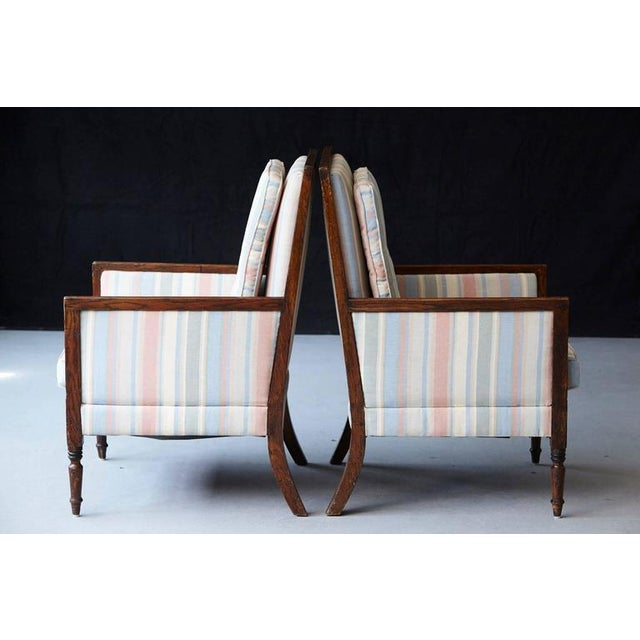 1920s Pair of Italian Neoclassical Style Bergères in Pastel Striped Moiré Taffeta For Sale - Image 5 of 10