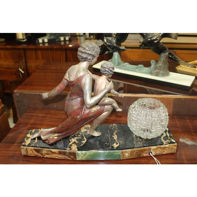1940s U. Cipriani French Art Deco Lamp Sculpture For Sale - Image 5 of 10