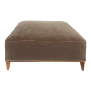 Mid-Century Modern Mohair Upholstered Ottoman W/ Wood Base For Sale