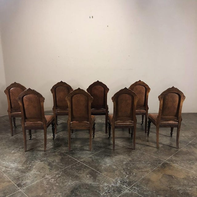 French Set of Eight 19th Century French Walnut Dining Chairs For Sale - Image 3 of 13