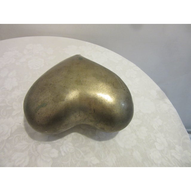 Mid-Century Modern 1970s Mid Century Modern Brass Molded Heart For Sale - Image 3 of 5