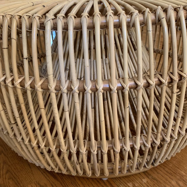 Franco Alibini Style Round Rattan Ottoman Side Table For Sale In Atlanta - Image 6 of 12