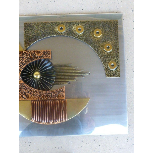 Metal Mid-Century 1970's Brutalist Mixed Metal Wall Plaque For Sale - Image 7 of 8