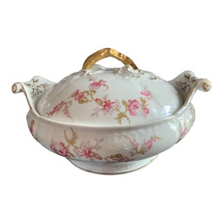 Antique French Limoges Pink and Lavender Flowers Round Serving Dish With Lid by Elite Works For Sale